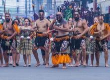 2018 Dinagyang Festival. ILOILO , PHILIPPINES - JAN 28 : Maori dancers in the Dinagyang Festival in Iloilo Philippines on January 28 2018. The Dinagyang is Stock Photo