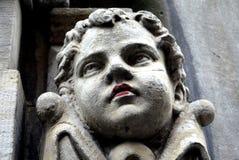 Dinamarca: cabeça de pedra do detalhe do menino Imagens de Stock Royalty Free