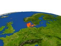 Dinamarca en rojo de la órbita stock de ilustración
