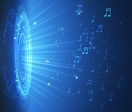 Dinamic con las luces y las notas sobre el fondo azul, ejemplo musical abstracto ilustración del vector