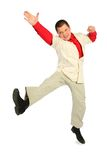 Dinamic jumping businessman in red shirt stock photos
