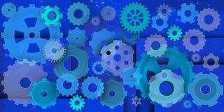 Mechanical world in blue composition. Dinamic and machanical image in different environments, Blue in this case Royalty Free Stock Image