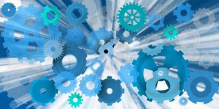 Mechanical world in blue explosion. Dinamic and machanical image in different environments, Blue in this case Royalty Free Stock Photo