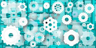 Mechanical world in bluish composition Stock Photo