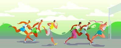 Free Dinamic Running People. Winner. Sports Competition On The Air. Marathon Run. Vector. Eps10 Stock Photo - 153886600