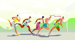 Free Dinamic Running People. Winner. Sports Competition On The Air. Marathon Run. Vector. Eps10 Stock Image - 153888961