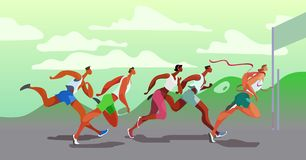 Free Dinamic Running People. Winner. Sports Competition On The Air. Marathon Run. Vector. Eps10 Royalty Free Stock Image - 153889216