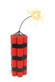Dinamita con el fieltro ardiente Foto de archivo libre de regalías