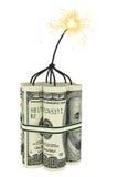 Dinamite compor de contas de dólar Fotografia de Stock Royalty Free