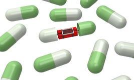 Dinamite dentro la rappresentazione delle pillole 3d della capsula Fotografia Stock Libera da Diritti