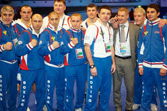 Dinamo Moskau Verpackenteam nach Boxveranstaltung Stockfoto