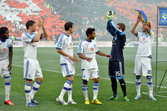 Dinamo players applauding fans Royalty Free Stock Image