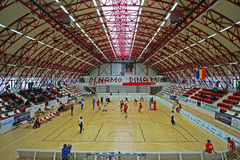 Dinamo sports gym. Pictured during the Romanian Volleyball A1 Division game between Dinamo Bucharest and Arcada Galati. Dinamo won, 3-1 royalty free stock photo