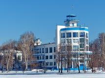 Dinamo stadium próbka konstruktywizm Budynków spojrzenia jak błękitny statek Verkh-Isetskiy deptak i staw obrazy royalty free