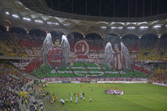 Dinamo - Steaua, 3D choreography. The supporters of Dinamo Bucharest put up a choreo during the match between Dinamo Bucharest and Steaua Bucharest, Romania Royalty Free Stock Image