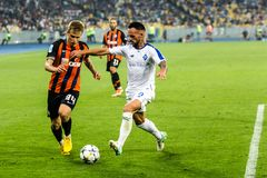 Dinamo ucraina Kyiv - Šakhtar, A della partita di Premier League immagini stock libere da diritti