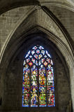 Dinan. (Cotes-d'Armor, Brittany, France) - Interior of the Saint-Saveur church, in gothic style: stained glass Royalty Free Stock Photos