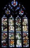 Dinan. (Cotes-d'Armor, Brittany, France) - Interior of the Saint-Saveur church, in gothic style: stained glass Royalty Free Stock Images