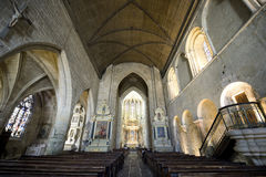 Dinan. (Cotes-d'Armor, Brittany, France) - Interior of the Saint-Saveur church, in gothic style: stained glass Stock Photography