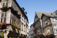 Dinan. (Cotes-d'Armor, Brittany, France) - Exterior of ancient half-timbered houses Royalty Free Stock Photos