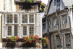 Dinan. (Cotes-d'Armor, Brittany, France) - Exterior of ancient half-timbered houses Royalty Free Stock Image
