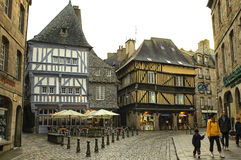 Dinan (Brittany): half-timbered buildings Stock Photo