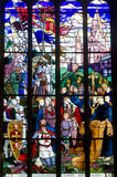 Dinan, stained glass. Dinan (Cotes-d'Armor, Brittany, France) - Interior of the Saint-Malo church, in gothic style: stained glass, first crusade (made by Jean Royalty Free Stock Photography