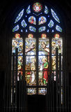 Dinan, stained glass. Dinan (Cotes-d'Armor, Brittany, France) - Interior of the Saint-Malo church, in gothic style: stained glass and organ Stock Image