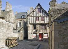 Dinan. Street view of Dinan, a breton town in northwestern France Stock Images