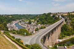 Dinan Viaduct. The road viaduct just outside of Dinan in France. The structure takes traffic across the valley and the river below Stock Photography