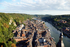 Dinant. The city of Dinant in Belgium seen from the citadel Stock Image