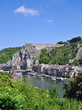 Dinant in the Ardennes. The picturesque Dinant in the belgian Ardennes on the Meuse River stock photography