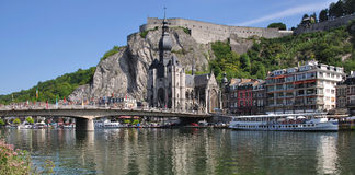 Dinant in the belgian Ardennes. With the Fortress and the River Meuse,Ardennes,Belgium royalty free stock images
