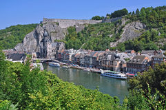 Dinant in the belgium Ardennes. Dinant in the belgian Ardennes with the Fortress and the River Maas stock photo