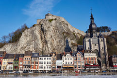 Dinant,Belgium. Old buildings, citadelle on rock, landmark church in Dinant,Belgium Stock Photo