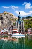 Dinant Collegiate Church on Meuse river Royalty Free Stock Photos