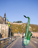Dinant giant saxophones exhibitions. The town of Dinant Belgium had organized an exhibitions dedicated to the saxophone on the Pont (bridge) Victor Collard Stock Photos