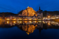 Dinant by Night. View on the historic city centre of Dinant, Belgium Stock Photography