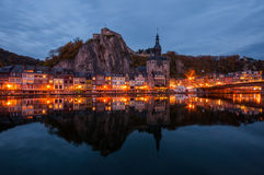 Dinant by Night. View on the historic city centre of Dinant, Belgium Royalty Free Stock Images