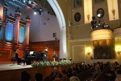 Dinara Aliyeva singer. Classical music concert in Moscow conserv Royalty Free Stock Image