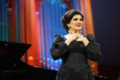 Dinara Aliyeva singer. Classical music concert in Moscow conserv. MOSCOW - JANUARY 21: Dinara Aliyeva singer plays concert in Conservatory Big Concert Hall on Stock Image