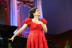 Dinara Aliyeva singer. Classical music concert in Moscow conserv. MOSCOW - JANUARY 21: Dinara Aliyeva singer plays concert in Conservatory Big Concert Hall on Royalty Free Stock Photo