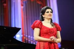 Dinara Aliyeva singer. Classical music concert in Moscow conserv. MOSCOW - JANUARY 21: Dinara Aliyeva singer plays concert in Conservatory Big Concert Hall on Stock Photography