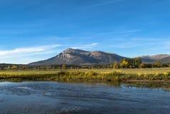 Dinara mountain from Cetina river valley. Dinara mountain, highest in Croatia, view from Cetina river valley on fall sunny day Stock Photos