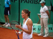 Dinara Safina. Russian tennis woman dinara safina playing at Roland Garros 2008 open Stock Photo