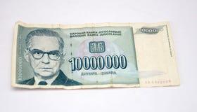 Dinares velhos de Jugoslávia, papel moeda Imagem de Stock