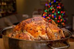 Dinde de Noël dans une casserole de torréfaction avec un arbre de Noël décoré à l'arrière-plan image libre de droits