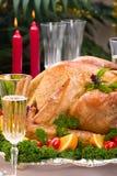 Dinde de Noël sur la table de vacances photos libres de droits