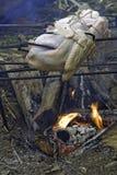 Dindes rôtissant au-dessus d'une verticale ouverte d'incendie Photo stock