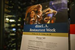 Dine L.A. menu of a restaurant. Los Angeles, JAN 14: Dine L.A. menu of a restaurant on JAN 14, 2018 at Los Angeles, California Stock Images